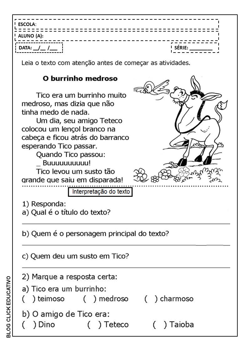 Interpretacao De Texto Para 3º Ano O Burrinho Medroso Para