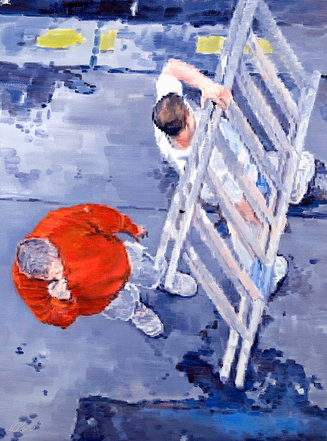 Pixel Impressionist figurative painting of French painters viewed from above