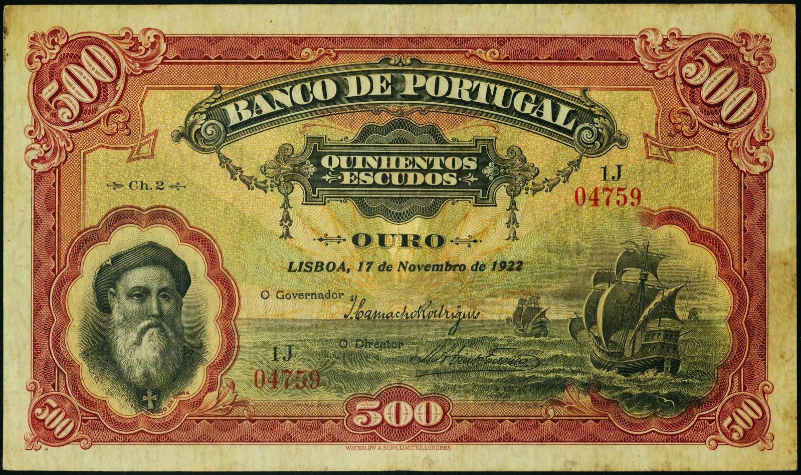 Portugal banknotes 500 Escudos 1922 Vasco da Gama