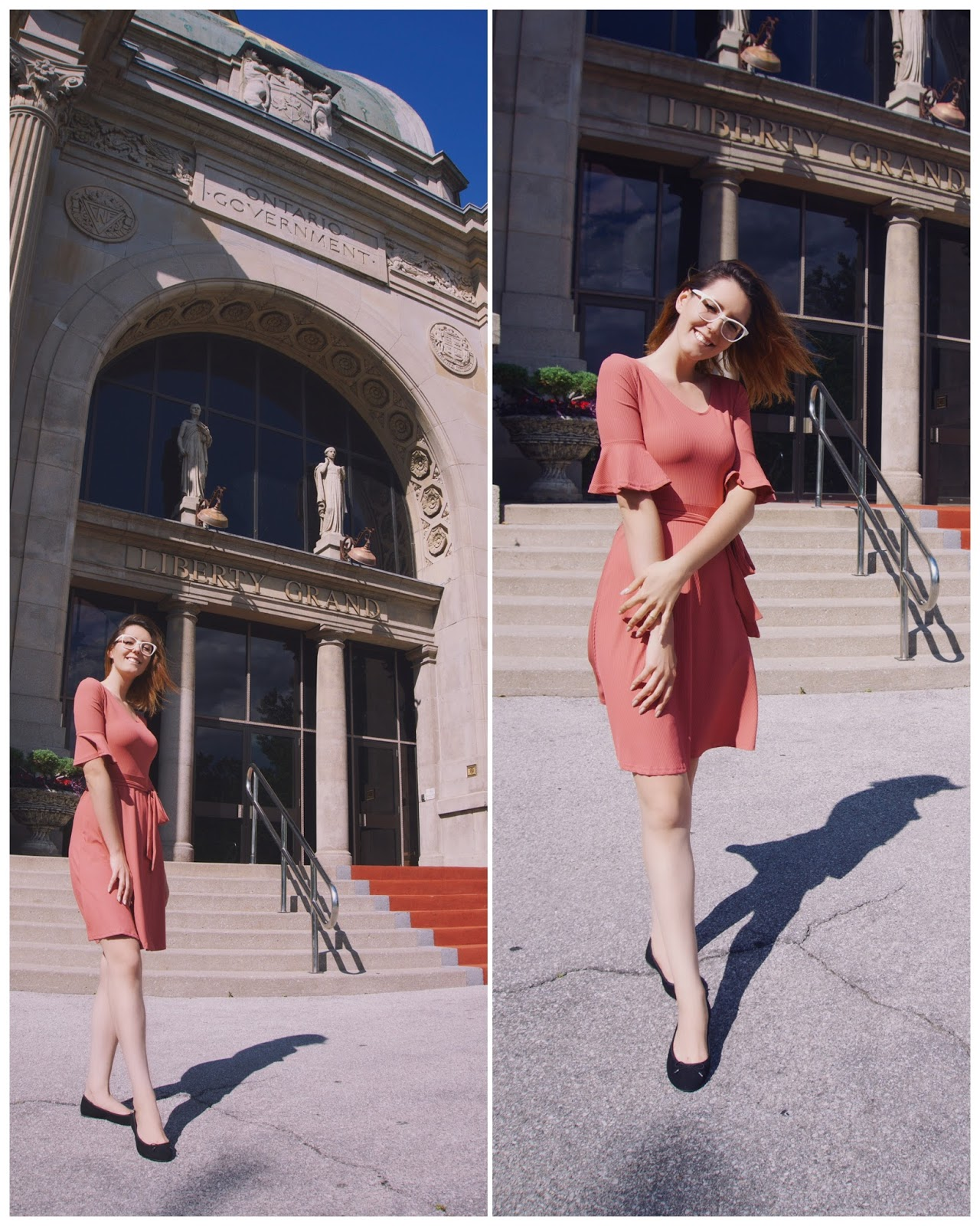 Peach Midi Dress with Bell Sleeves