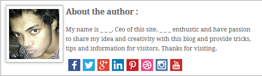 Responsive Author Bio widget Box Below Post In Blogger With Social Share Buttons.