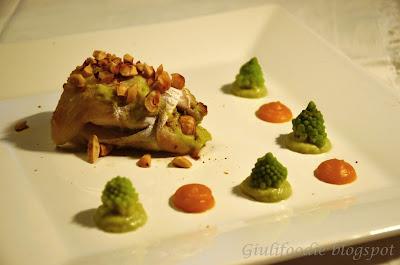 filetto di merluzzo, broccolo romanesco, zucca, nocciole