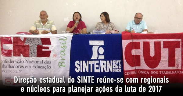 Direção estadual do SINTE reúne-se com regionais e núcleos para planejar ações da luta de 2017