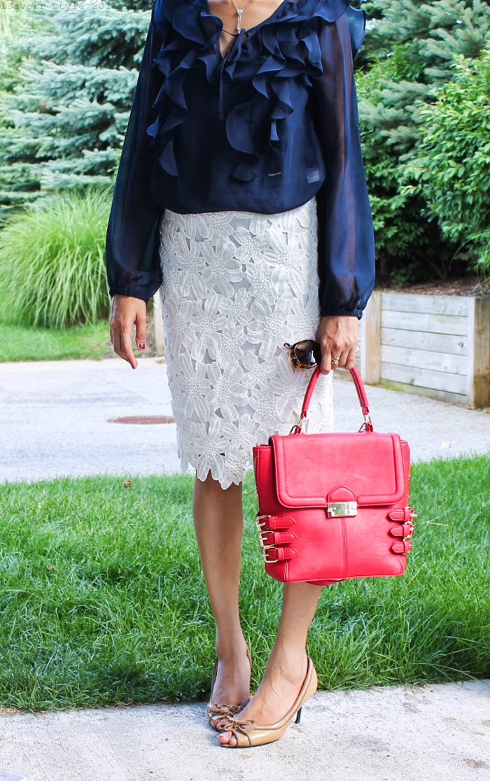 Ruffled Top, Lace Skirt, Red Handbag, Beige Pumps, Summer 2014, Outfit Ideas, What I wore, Outfits, Indian, Fashion Blogger, Fashion, Style, Fashion Trends,