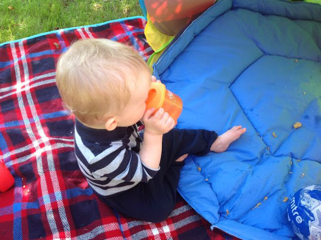 Baby holding orange sippy cup and drinking sat on a rug in the garden