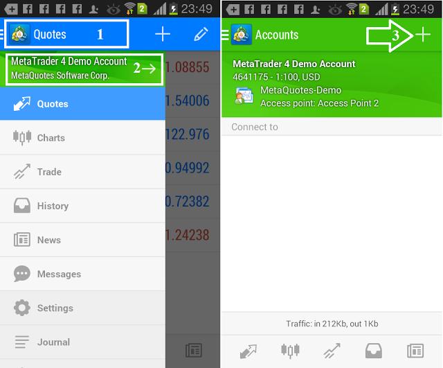 Đăng nhập MT4 trên Android