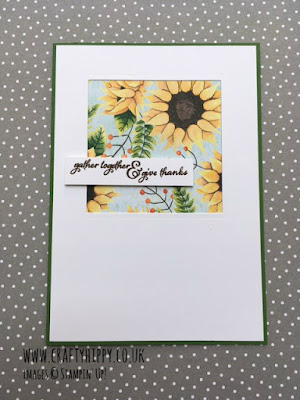 Gather and give thanks sunflower card by Stampin' Up! Made using the Painted Harvest stamp set and Painted Autumn Designer Series Paper