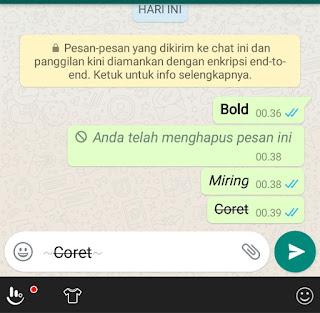 cara variasi tulisan di whatsapp