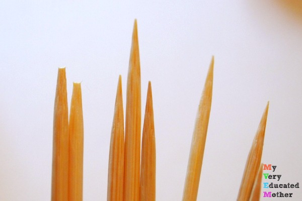 Classic Pick-Up or Mikado sticks have a slight point but not like skewers, be sure to trim the points.