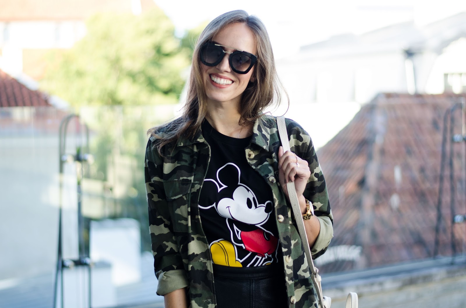 camo military jacket black mickey tshirt