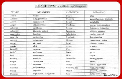Antonyms Chart-1 -  Meaning in Tamil