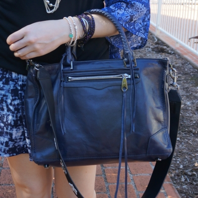 Rebecca Minkoff Regan Satchel Tote in moon with Rebecca Minkoff Crystal Star Shoulder Guitar strap | awayfromtheblue