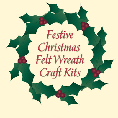 Holiday festive felt wreath kits sets for crafters