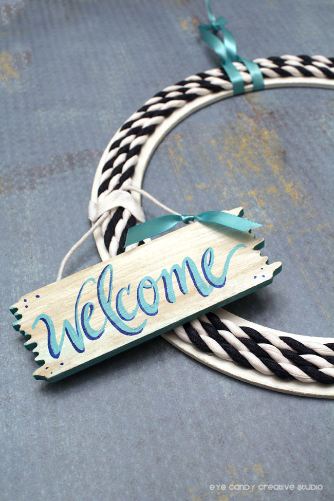 hand lettered, welcome sign, beach sign, nautical wreath, navy & white