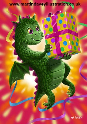 cute Baby Birthday Dragon with present-digital painting