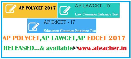AP Polycet Results 2017 AP EDCET Results 2017 AP LAWCET Results 2017
