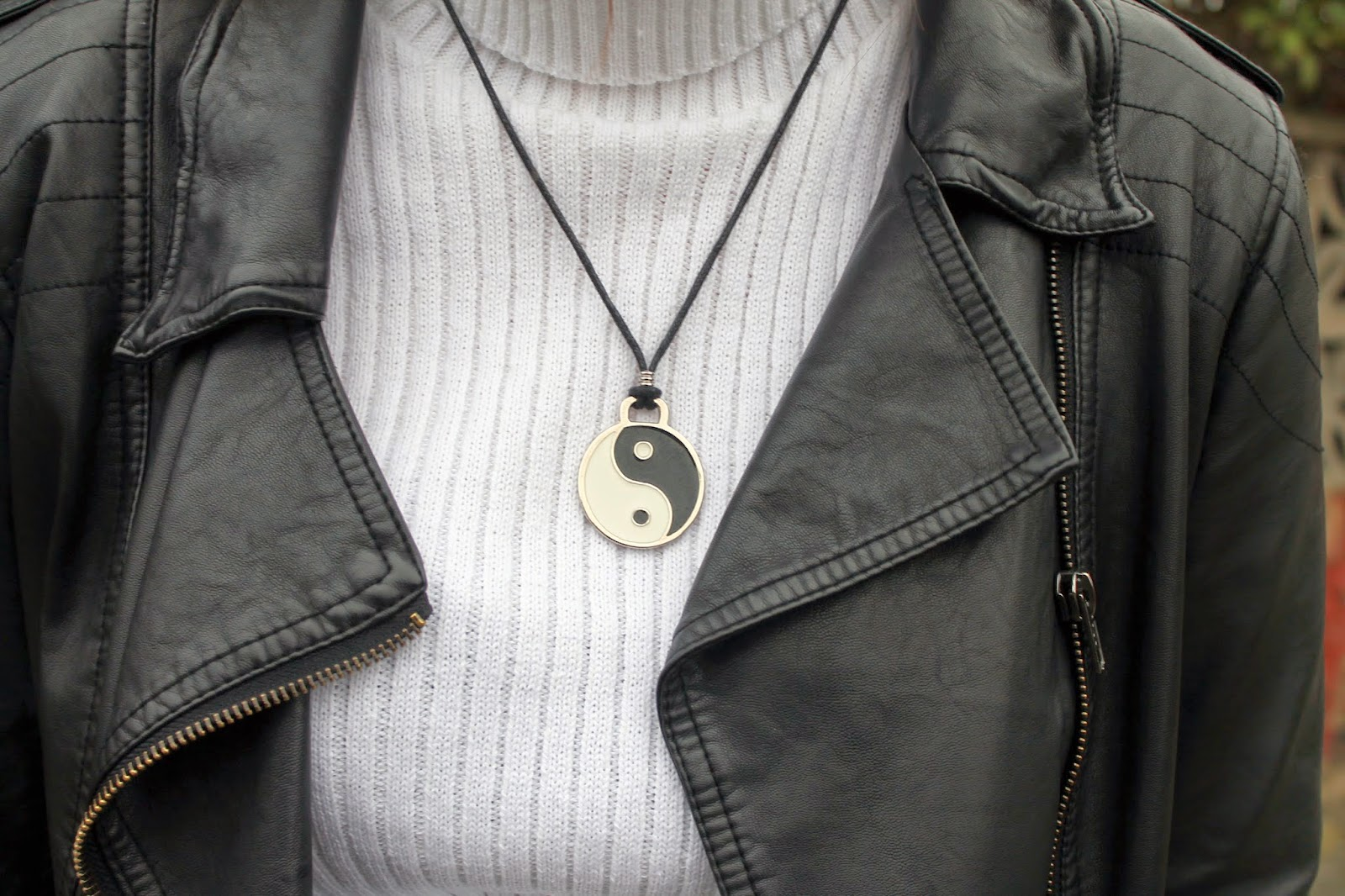 asos white rib knit poloneck roll neck jumper with yin yang necklace
