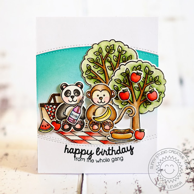 Sunny Studio Stamps: Summer Picnic & Comfy Creatures Birthday Card by Lexa Levana.
