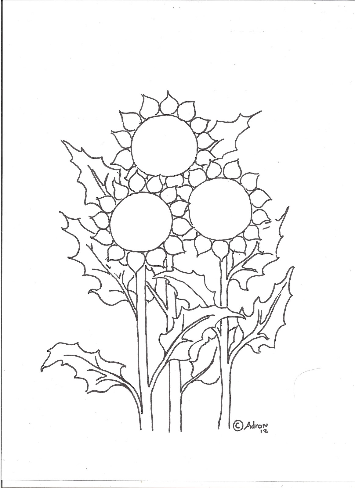 Coloring Pages for Kids by Mr. Adron: Three Sunflowers ...