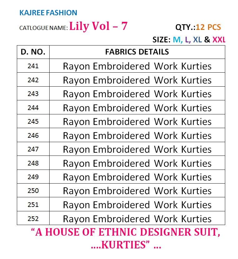LILY VOL 7-New Arrival Designer Rayon Embroidery Kurti