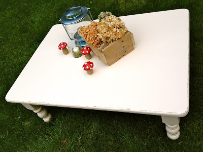 rustic white painted coffee table