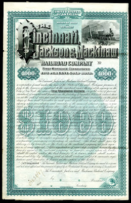 extremely rare bond from the Cincinnati, Jackson and Mackinaw Railroad