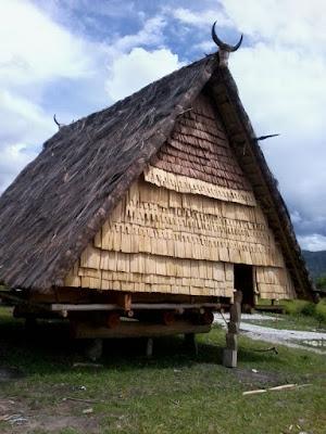 Sketsa Rumah Adat Sulawesi Tengah
