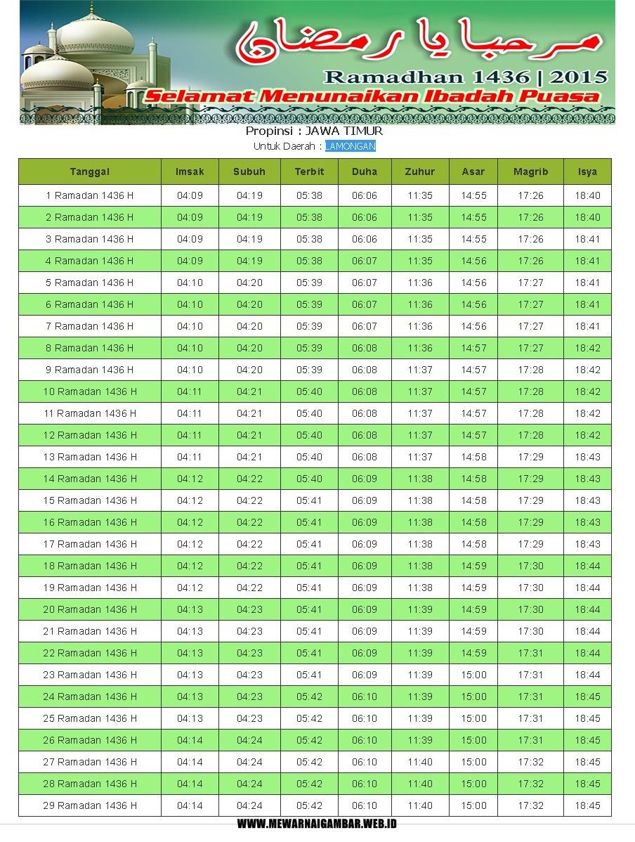 Jadwal Imsakiyah Provinsi Jawa Timur | Mewarnai Gambar