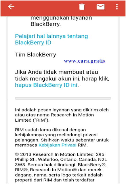 Hapus BlackBerry Id