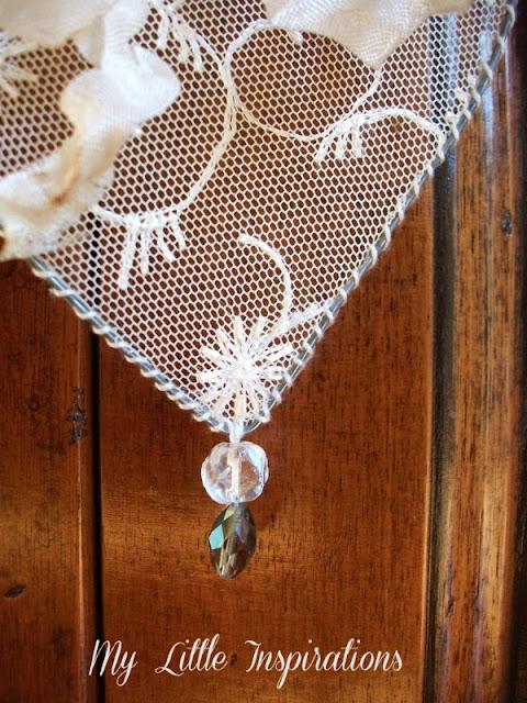 DIY Cuore Shabby in fil di ferro e pizzo - pendente cristallini - MLI