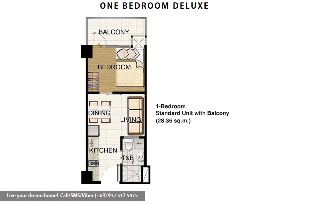 Floor Plan of SMDC Field Residences - 1 Bedroom Standard With Balcony | Condominium for Sale Sucat Paranaque