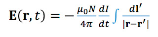 An equation for the electric field induced during magnetic stimulation.