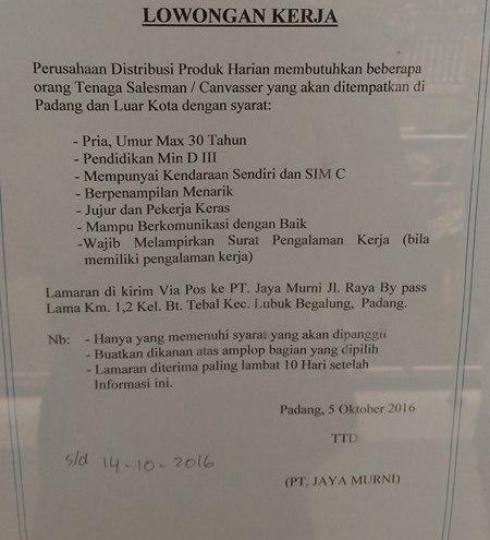 Lowongan Kerja di Padang – PT.Jaya Murni – Salesman – (Penutupan 14 Okt.2016)