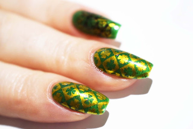 St. Patrick's Day nails using Beauty Big Bang XL-067 Prism Polish Scaligero