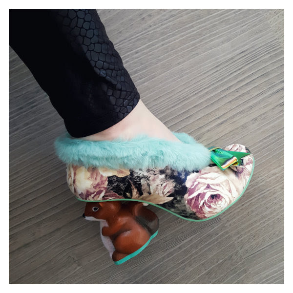 wearing irregular choice green floral furry o nutty
