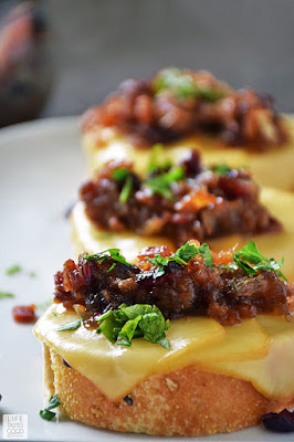 Cranberry Bacon Jam Crostini | by Life Tastes Good