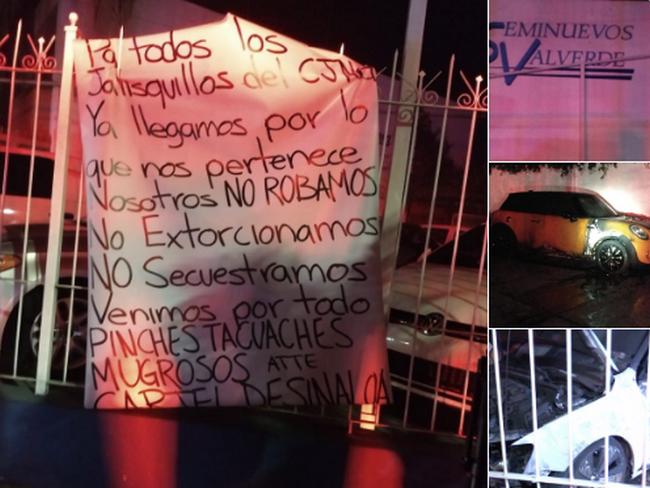 "Cartel de Sinaloa quema lote de coches del CJNG, ""Ya llegamos por ustedes pinches tacuaches mugrosos"" les dice en Narcomanta"