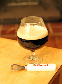 A snifter full of bourbon-barrel-aged sour brown ale.