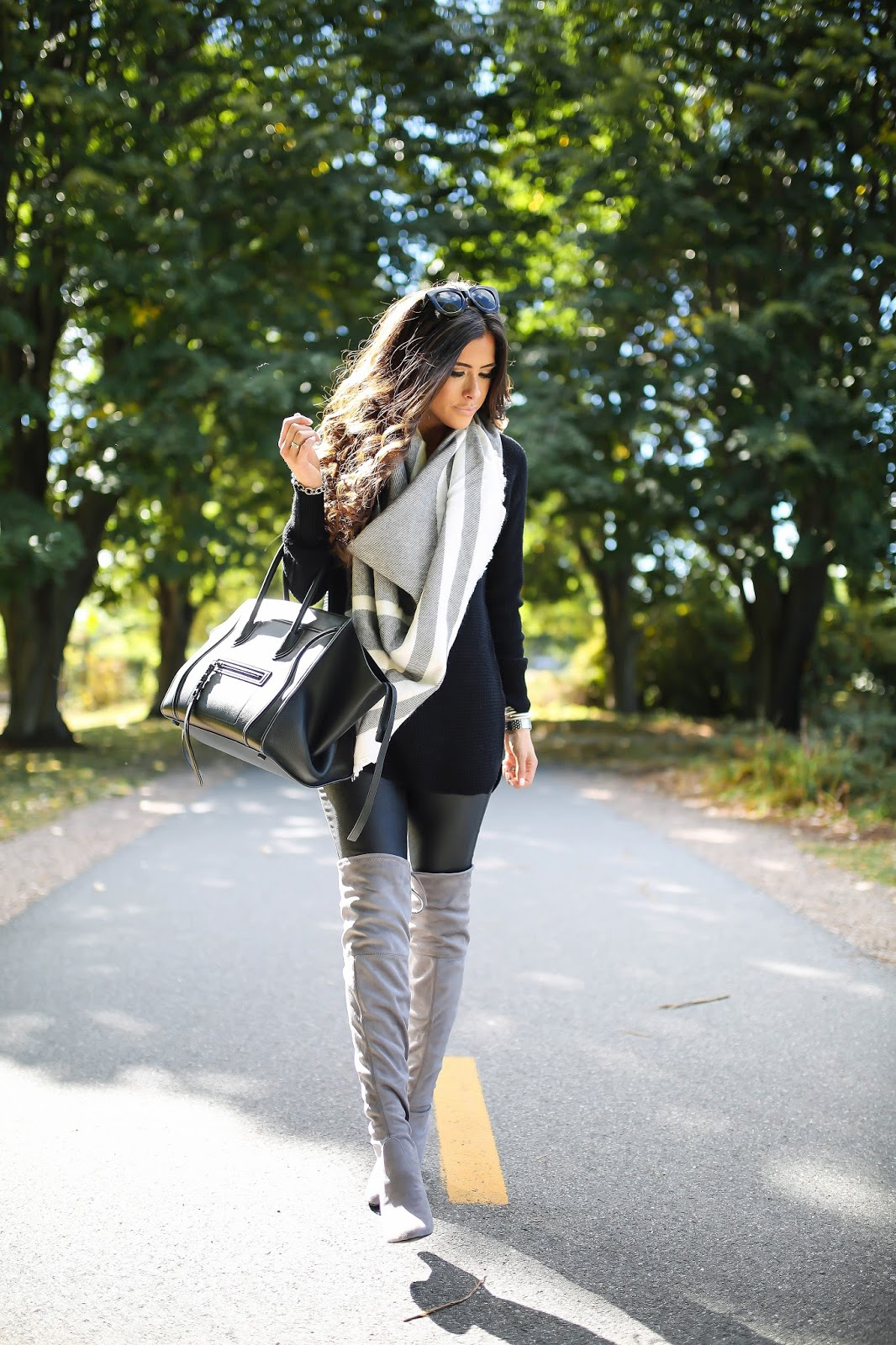 dea6f90103b Over The Knee Boots w Faux Leather Leggings