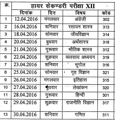 CGSOS 12th Class Time Table 2016 CGSOS Higher Secondary 12th Exam Time Table 2016