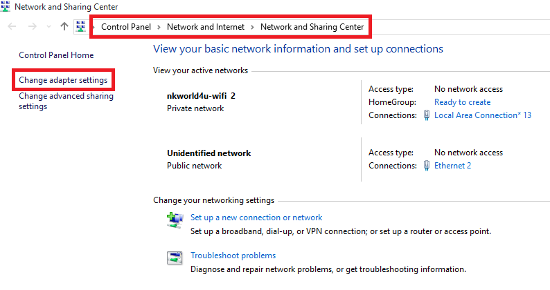 network and sharing center windows 10 cmd