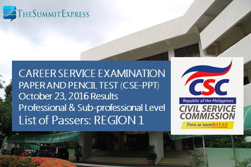 Region 1 List of Passers: October 2016 civil service exam (CSE-PPT) results