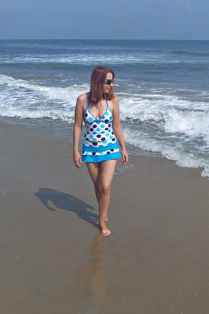 Two-piece polka dot swimsuit