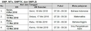 Jadwal Pelaksanaan UN Tingkat SMP Tahun 2016