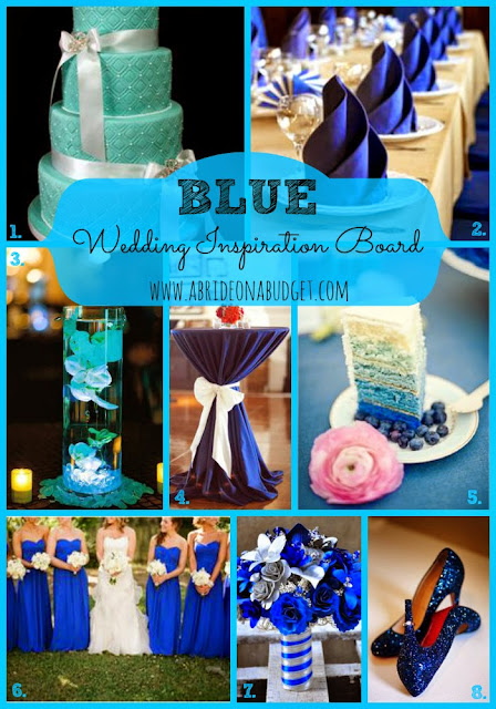 Plan your blue wedding with help from this Blue Wedding Inspiration Board on www.abrideonabudget.com.