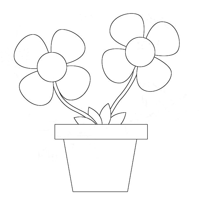 Drawing Cute رسم وردة للاطفال بطريقة سهلة How To Draw A Flower Pot