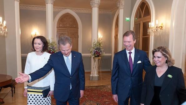 Grand Duke Henri and Grand Duchess Maria Teresa of Luxembourg are on a state visit to Finland. Style, Dress, jewelery, Maria Terasa wore fashion dress