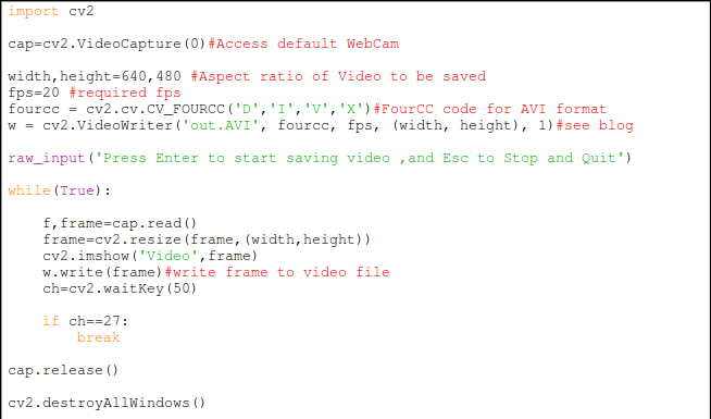 My Python Projects: Save Video from WebCam to disk using
