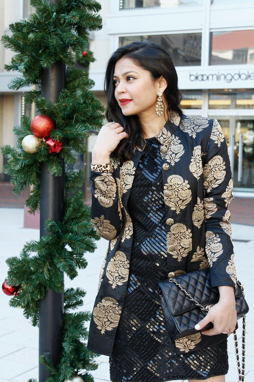 sequin. brocade, red heels, chanel bag