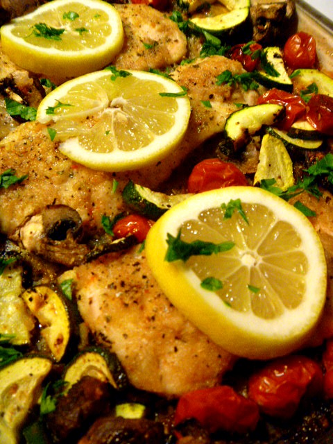 "Sheet Pan Mediterranean Lemon Parmesan Chicken and Vegetables - A whole meal cooked on one baking sheet!  Quick and easy to assemble, and extremely flavorful. Sheet pans are the new ""One Pot"" cooking method and it's ingenious! Slice of Southern"